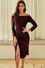 Load image into Gallery viewer, Red Off Shoulder Ruched Thigh High Slit Sequin Dress - Emma's Boutique