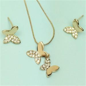 RHINESTONE EMBELLISHED 18K ROSE GOLD PLATED BUTTERFLY NECKLACE AND EARRINGS SET - Emma's Boutique