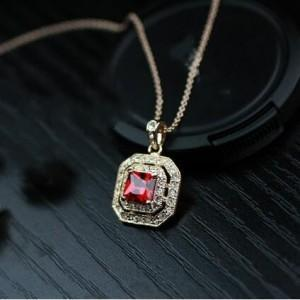 Rhinestone Inlaid Red Crystal Pendant 18k Rose Gold Plated Necklace - Emma's Boutique