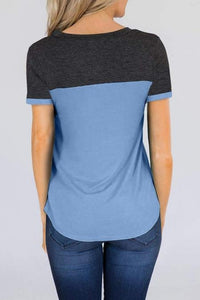 Sky Blue Color Block Pocketed T Shirt - Emma's Boutique