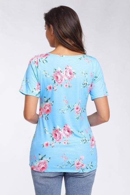 Strappy Neck Detail Blue Floral Short Sleeve T-shirt - Emma's Boutique