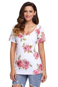 Strappy Neck Detail White Floral Short Sleeve T-shirt - Emma's Boutique