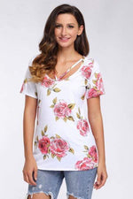 Load image into Gallery viewer, Strappy Neck Detail White Floral Short Sleeve T-shirt - Emma's Boutique