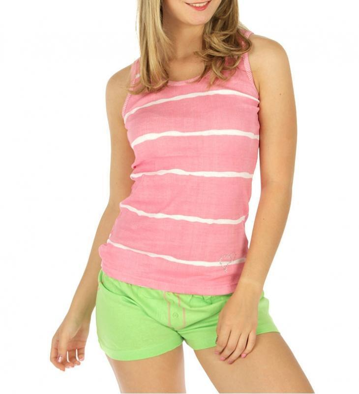 Striped tank and solid shorts PJ set PK - Emma's Boutique