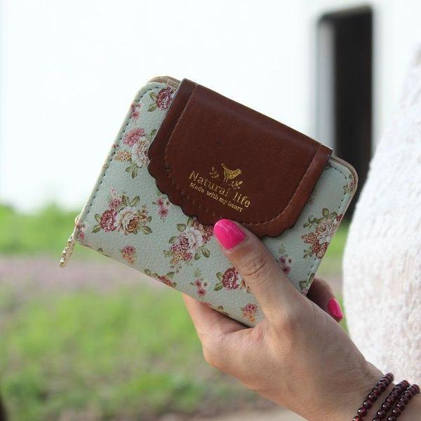 Stylish Rural Wind Two Fold Cover Flower Zip Wallet - Emma's Boutique