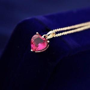 SWEET RED ZIRCONIA HEART PENDANT ROSE GOLD NECKLACE - Emma's Boutique