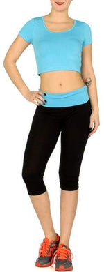Load image into Gallery viewer, Turquoise sports crop top and capri yoga pants set - Emma's Boutique