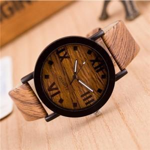 VINTAGE GRAIN OF WOOD WITH ROMAN NUMERALS DESIGN FASHION WRIST WATCH - STYLE 1 - Emma's Boutique