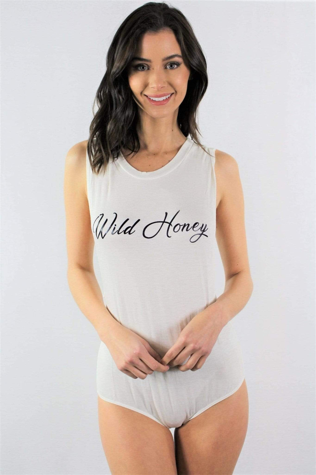 White Wild Honey Sleeveless Bodysuit - Emma's Boutique