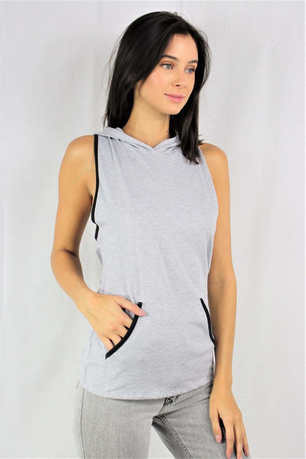 Women's Crisscross-Back Sleeveless Hoodie - Emma's Boutique