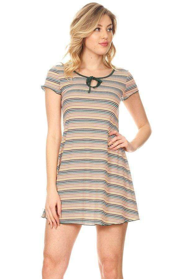 Women's Short Sleeve Keyhole Front Trap Mini Dress - Emma's Boutique