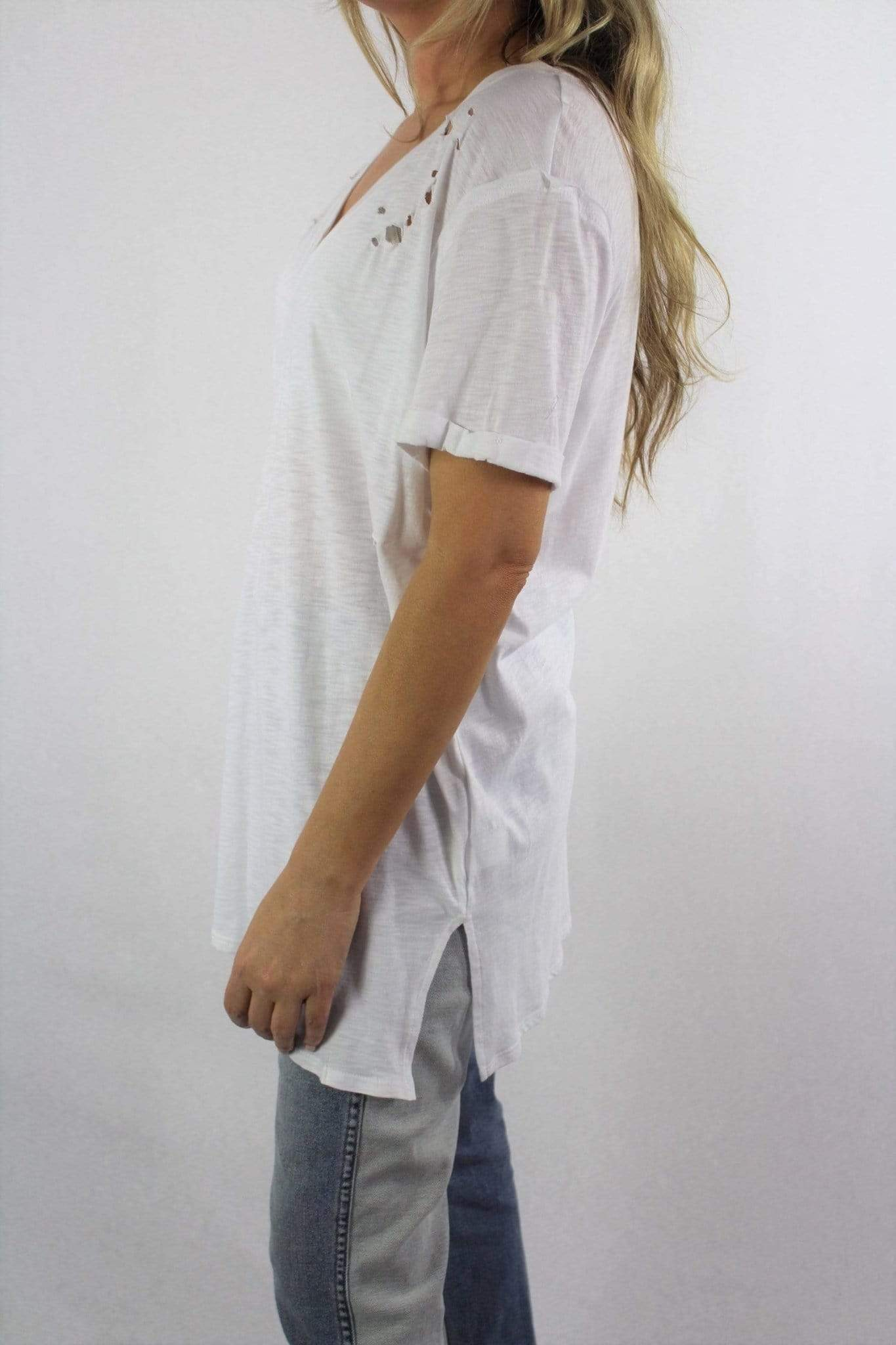 Women's Short Sleeve V Neck Tee - Emma's Boutique
