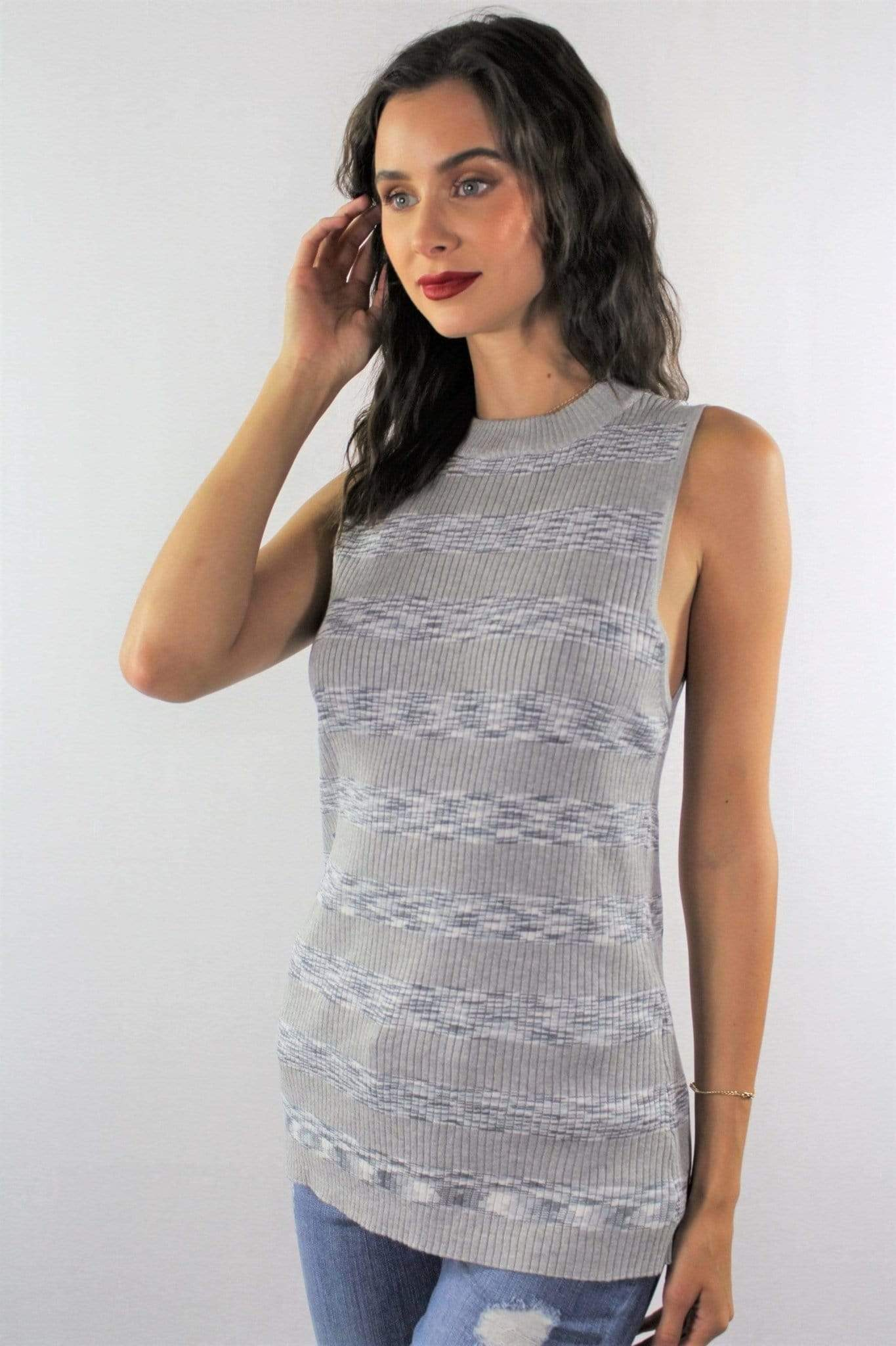 Women's Sleeveless Top with Stripe Detail - Emma's Boutique