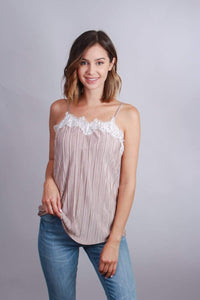 Women's Taupe Lace Trim Tank Top - Emma's Boutique