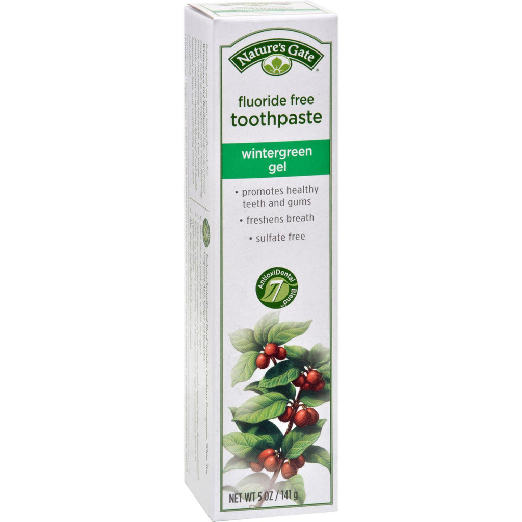 Nature's Gate Natural Toothpaste Gel Flouride Free Wintergreen - 5 Oz - Case Of 6
