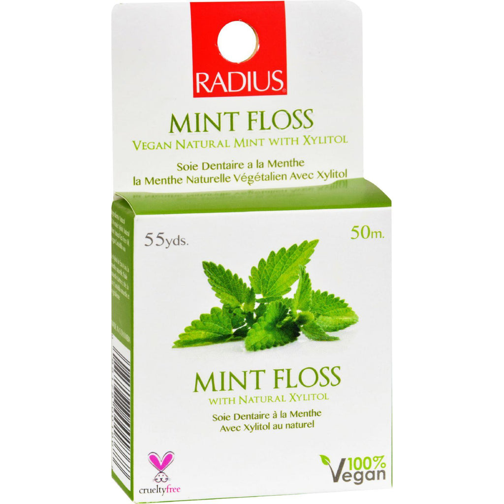 Radius Mint Floss With Natural Xylitol - 55 Yards - Case Of 6
