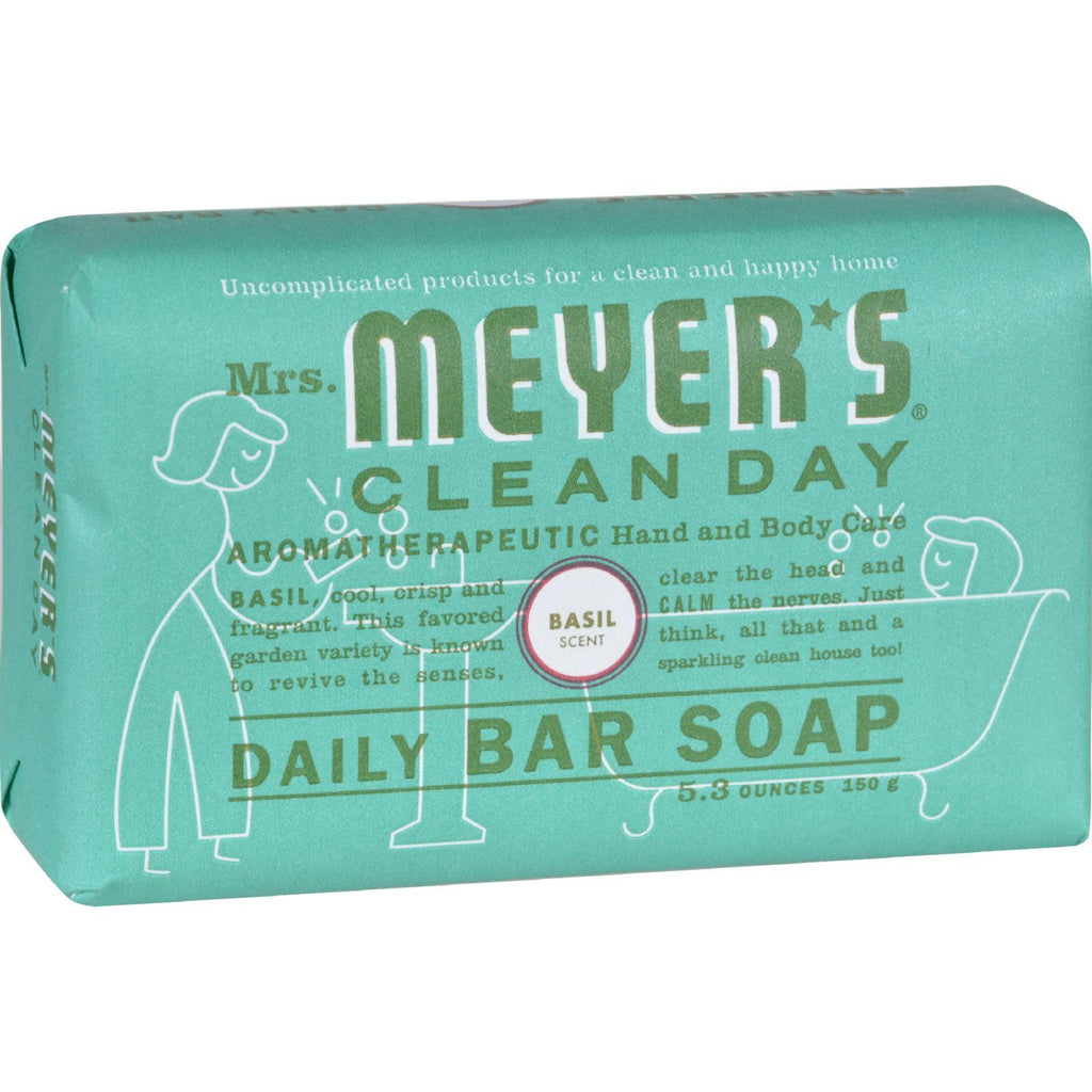 Mrs. Meyer's Bar Soap - Basil - 5.3 Oz - Case Of 12