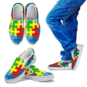Code Switch Puzzle Piece Kid's Slip Ons (White)