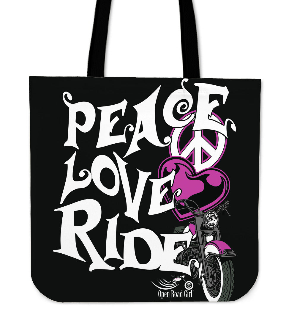 PINK Love, Peace, Ride Tote Bag