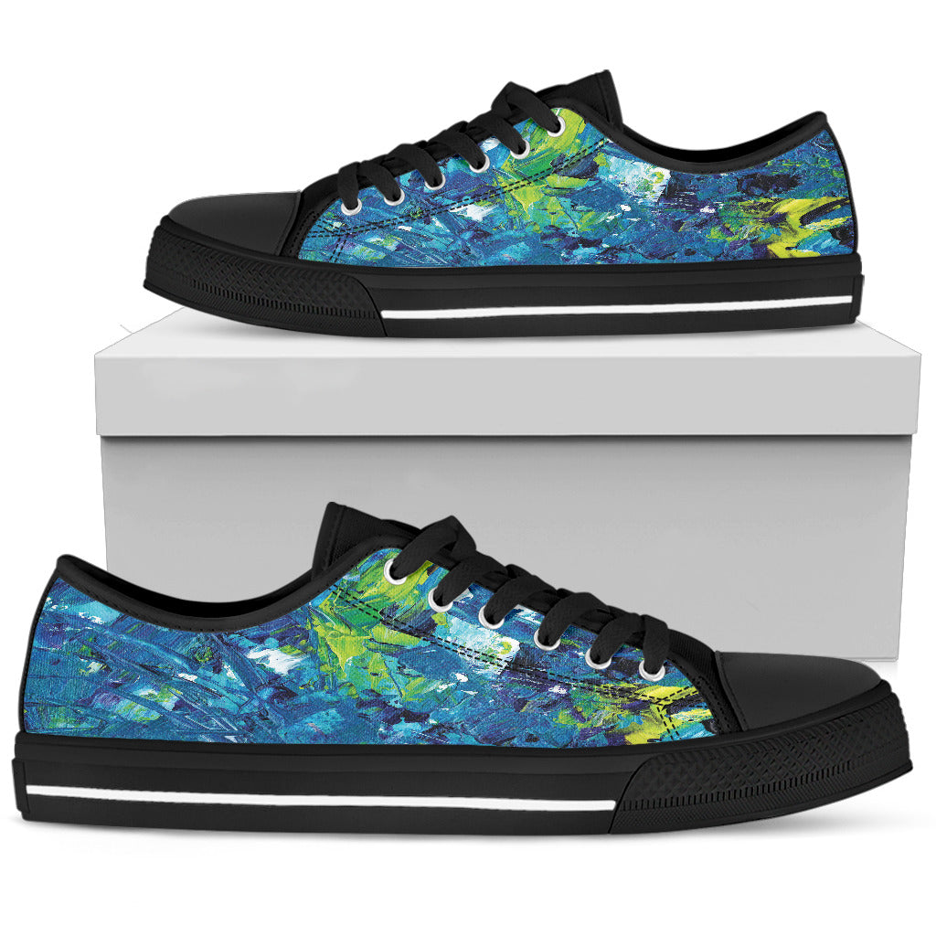 Abstract Oil Painting Blue and Green Women's Low Top Shoes (Black)