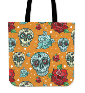 Orange Skull Cloth Tote Bag