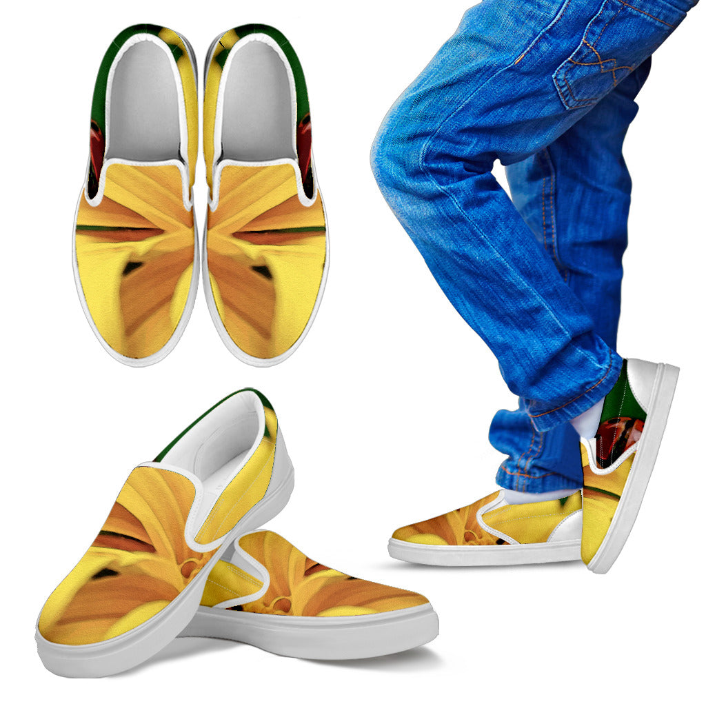 Kid's Slip Ons Fun in the Sunflower (White Soles)