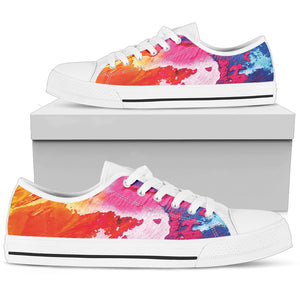 Abstract Oil Painting Rainbow Women's Low Top Shoes (White)