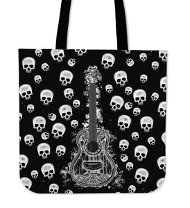 Guitar and Skulls Tote Bag