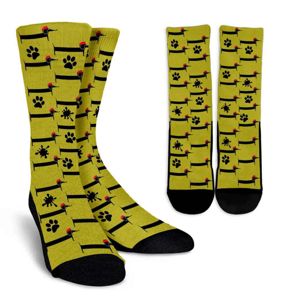 Yellow creme socks duschund