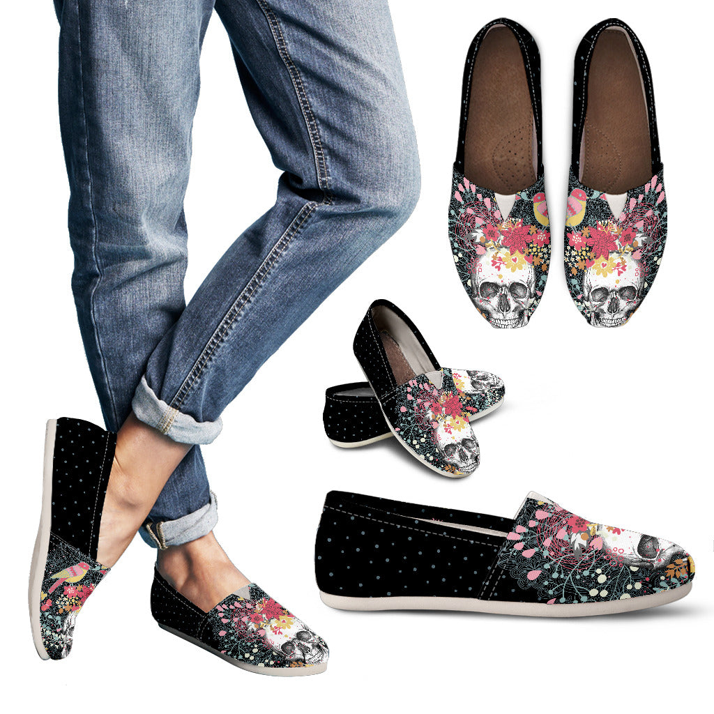 Flowers & Skull Women's Casual Shoes