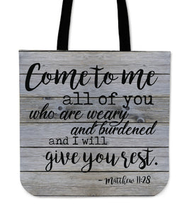 "Beautiful ""I Will Give Your Rest"" Biblical Tote Bag"