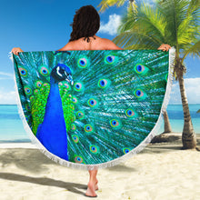 Load image into Gallery viewer, Peacock Beach Roundie Beach Blanket
