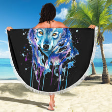 Load image into Gallery viewer, Watercolour Wolf Beach Blanket