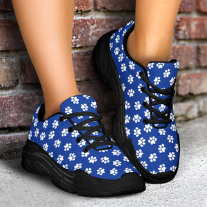 Paw Print Blue Chunky Sneakers