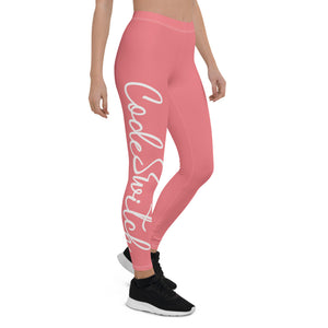 Coral Pink & White Code Switch Leggings