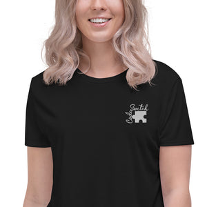 Code Switch White Puzzle Piece Crop Tee