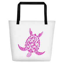 Load image into Gallery viewer, Pink and White Large Sea Turtle Beach Bag