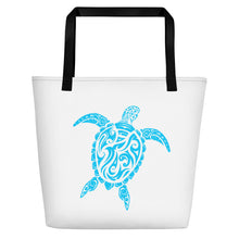 Load image into Gallery viewer, Blue and White Large Sea Turtle Beach Bag