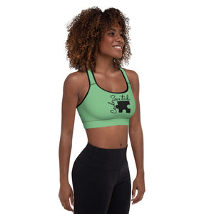 Green Code Switch Black Puzzle Piece Padded Sports Bra