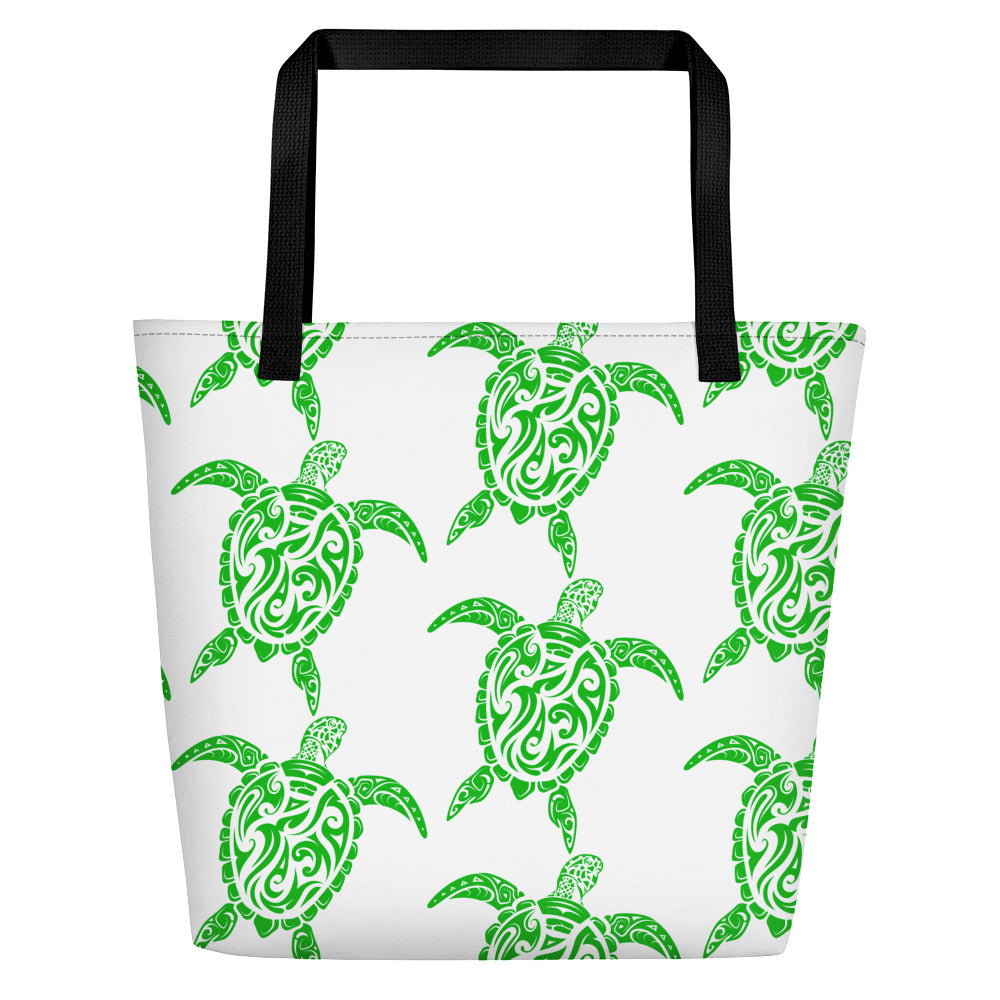 Green and White Sea Turtle Beach Bag
