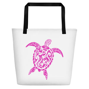 Pink and White Large Sea Turtle Beach Bag