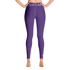 Dark Purple and White Code Switch Yoga Leggings
