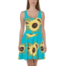 Load image into Gallery viewer, Sunflower on Blue Skater Dress