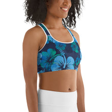 Load image into Gallery viewer, Blue Hibiscus Sports bra