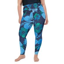 Load image into Gallery viewer, Blue Hibiscus All-Over Print Plus Size Leggings