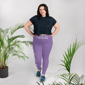 Purple and White Code Switch Plus Size Leggings