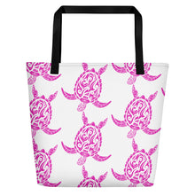 Load image into Gallery viewer, Pink and White Sea Turtle Beach Bag