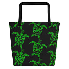 Load image into Gallery viewer, Green and Black Sea Turtle Beach Bag