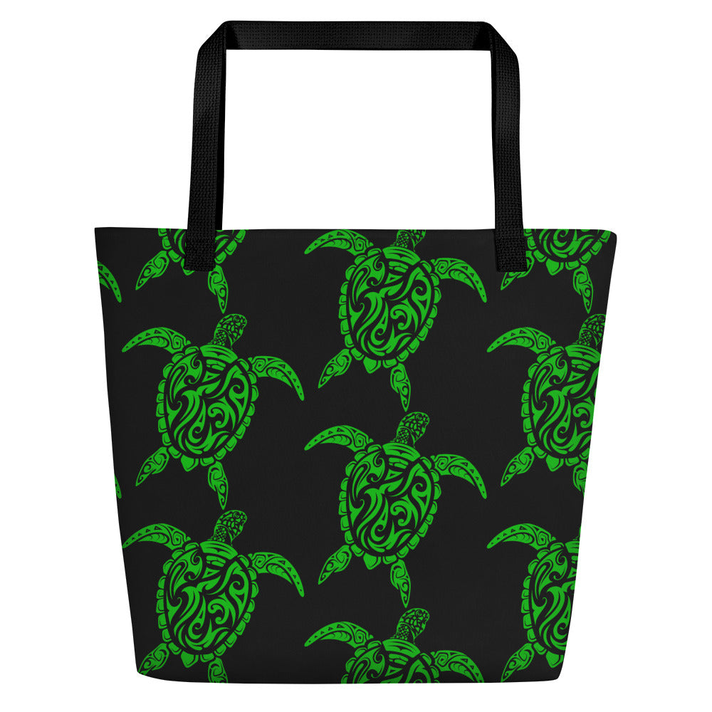 Green and Black Sea Turtle Beach Bag