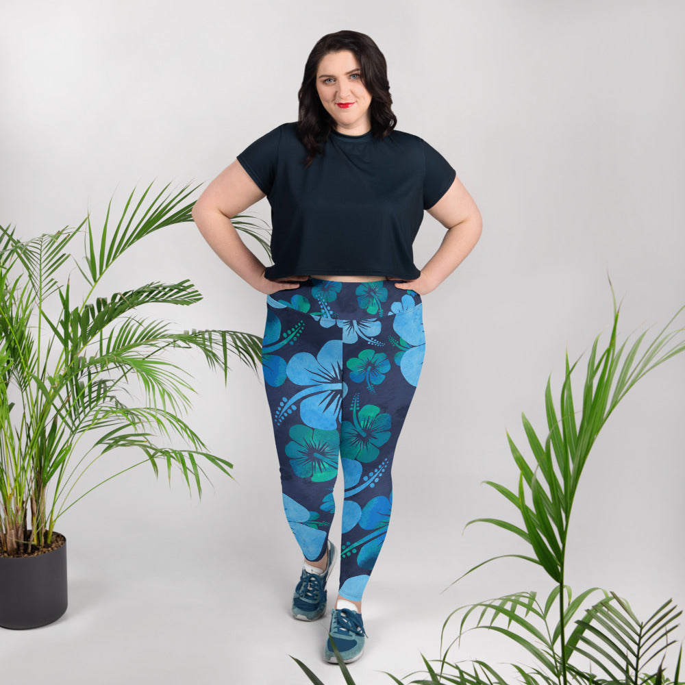 Blue Hibiscus All-Over Print Plus Size Leggings